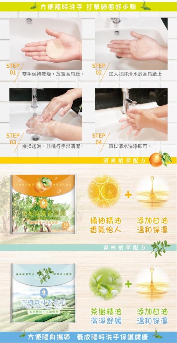 橙柚庭園香皂紙 / 茶樹森林香皂紙